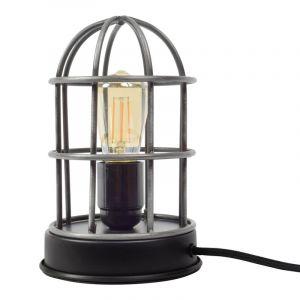 Industrie Tischlampe Jaz, grau, Metall, Ein/Ausschalter am Kabel