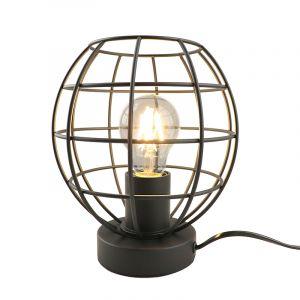 Industrielle Tischlampe Jochem, schwarz, Metall, Mit Schalter