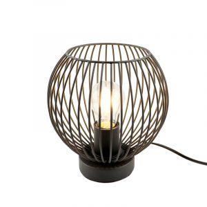 Industrielle Tischlampe Wiro, schwarz, Metall, Mit Schalter