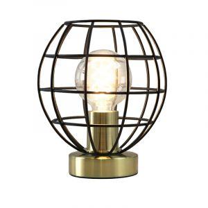 Industrielle Tischlampe Jochem, shwarz mit gold, Metall, Mit Schalter