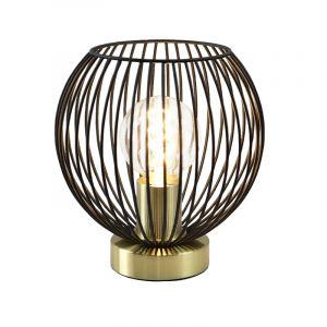 Industrielle Tischlampe Wiro, shwarz mit gold, Metall, Mit Schalter