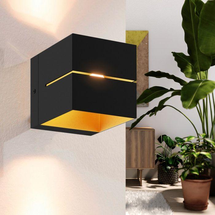 Moderne Up down Wandleuchte Gedser, Aluminium, schwarz