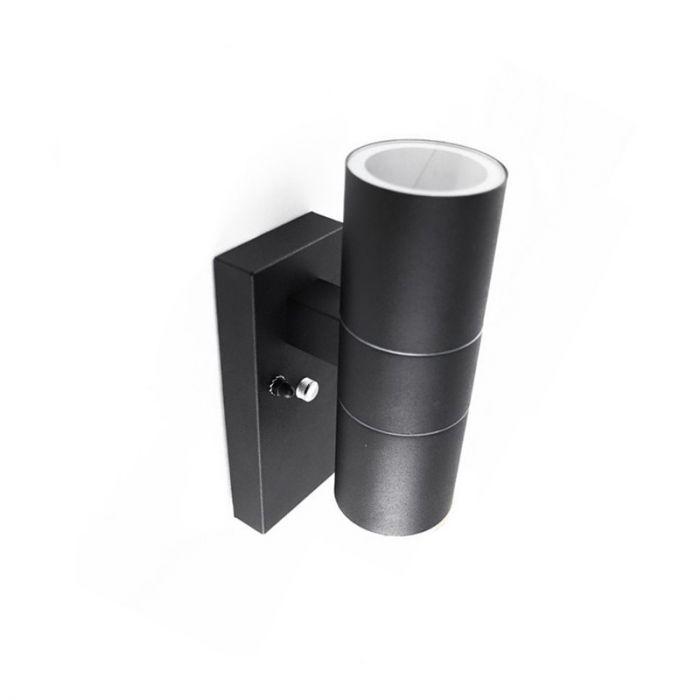 Schwarze Außenwandleuchte mit Dämmerungsmelder Pedro, rostfreien Stahl, modern