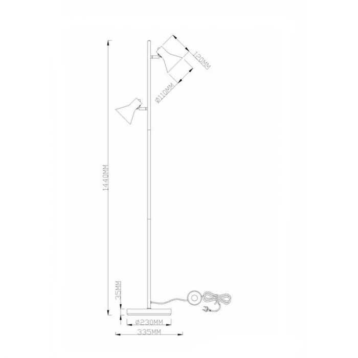 Industrielle Stehlampe Vero, Metall, schwarz, Ein/Ausschalter am Kabel